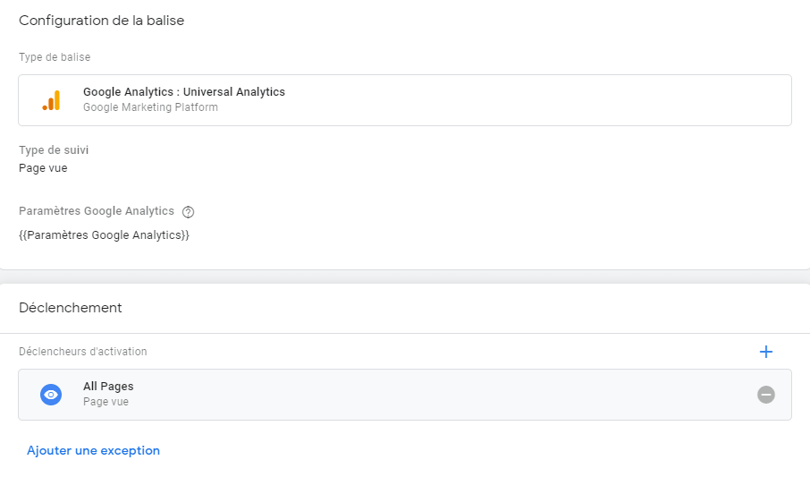 Création d'une balise Universal Analytics dans GTM