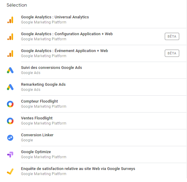 Liste des balises par défaut dans Google Tag Manager