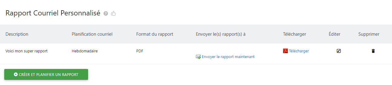 Matomo custom report show
